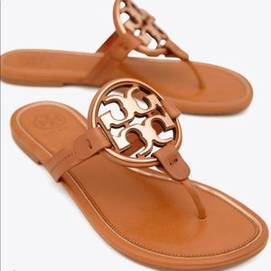NIB Tory Burch Metal Miller Sandal Tan/Rose Gold
